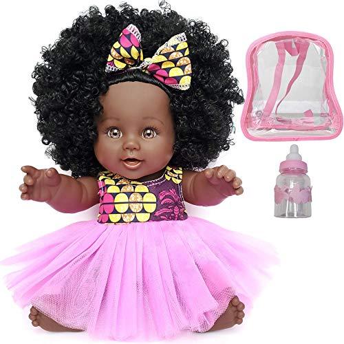 COLOR TOYS Poupée Noire Africaine pour Enfants avec Sac à Dos et biberon   Jouet de 30 cm à Offrir en Cadeau de Noël ou Anniversaire   Bébé Afro aux Cheveux bouclés (SHURI)