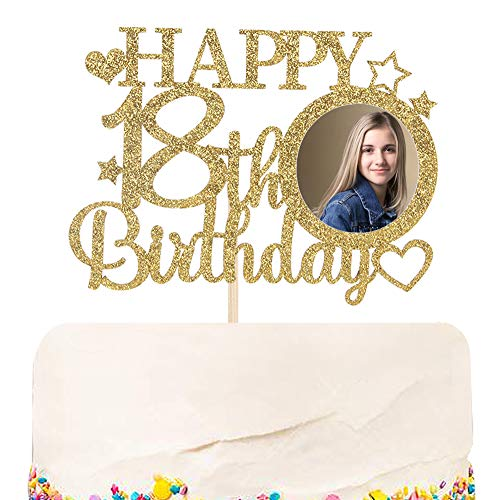 Halodete Glitter Happy 18th Birthday Cake Topper with Photo Frame - Hello Eighteen - 18th Birthday Party cake decoration Gold