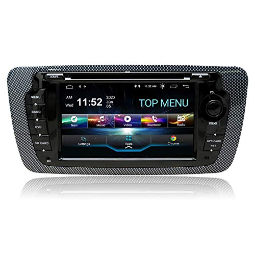 KAUTO Android 10.0 Car Audio Stereo Headunit Compatible con Seat 2009-2013 Reproductor de DVD Radio 7 Pulgadas HD Pantalla táctil Navegación GPS con Bluetooth WiFi SWC 3G DSP TPMS 2GB + 80GB