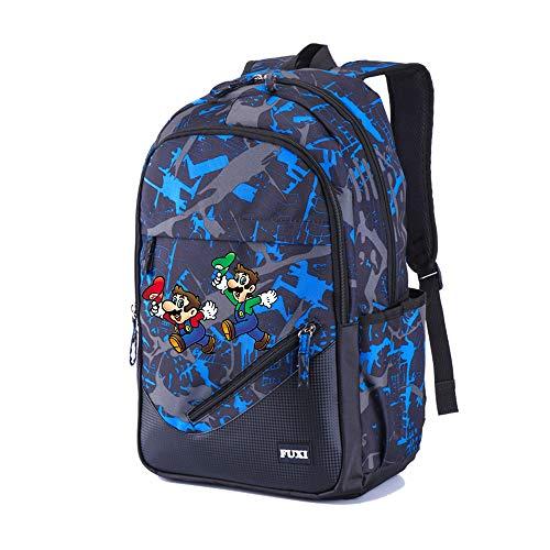 Super Mario Multifunktionsrucksack Sport Daypack Computer Rucksack Schulrucksack gedruckt Daypack lässig Rucksack Reisetasche (Color : Blue04, Size : 32 X 17 X 45cm)