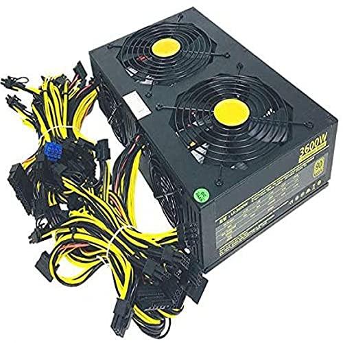TBNOONE 90V-260V 3600W Fuente de alimentación minera ATX PC PSU para 12 GPU-GTX 1050 1060 1080 Bitcoin Modular Eth Rig Ethereum Miner Unidad de Fuente de alimentación minera