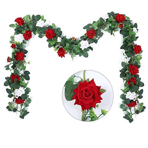 Hobyhoon 3 STK. 27 Köpfe Künstliche Rosengirlande Seidensamt Blumen Reben Gefälschte Hängende Efeupflanze für Hochzeitsfeier Home Wall Garden Dekorationen (Red 2pcs + White 1pcs)