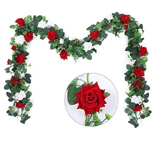 Hobyhoon 3Pcs 27Heads Artificial Rose Garland Silk Velvet Flowers Vines Fake Hanging Plant For Wedding Party Home Wall Garden Decorations (Red 2pcs + White 1pcs)