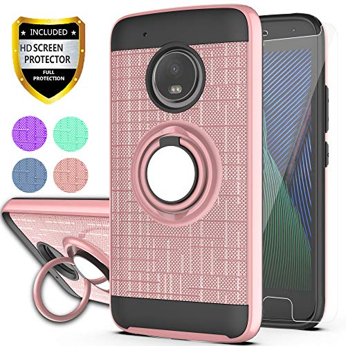 YmhxcY Moto G5 Plus Case,Moto G Plus 5th Generation Case with HD Phone Screen Protector, 360 Degree Rotating Ring & Bracket Dual Layer Resistant Back Cover for Motorola Moto X 2017-ZH Rose Gold