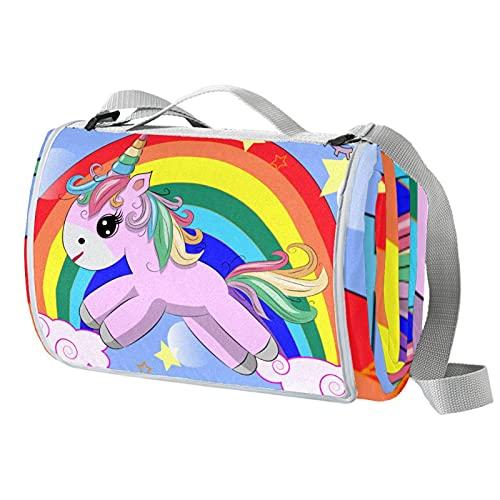 Ameolone Lindo unicornio soñador arco iris grande picnic al aire libre manta impermeable práctica Mat ToteGreat para playa y camping en la hierba primavera verano