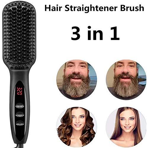 xxz Brosse à Lisser la Barbe, Peigne Chauffant Rapide en céramique à Cheveux ioniques avec contrôle de la température, Dents de Peigne Anti-brûlure, pour Un Style Plus épais à la Maison