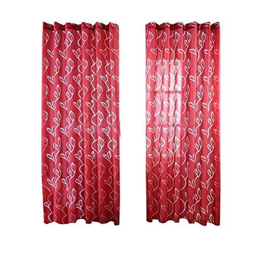 Pu Ran, tenda con design a foglie, per soggiorno e camera da letto, 100x 270cm, Red, taglia unica