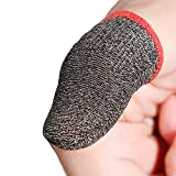 MOMOFLY 50% Silver Fiber Highly Sensitive Gaming Finger Sleeves (10 Pack) Touch Screen Breathable Anti-Sweat Shoot Aim Finger Cot for PUBG Mobile, Rules of Survival, for Android iOS Tablet
