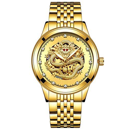FENKOO Schöne Armbanduhren TEVISE Herrenuhr Automatik Herrenuhr Mechanische Herren Drachenuhr (Color : 2)