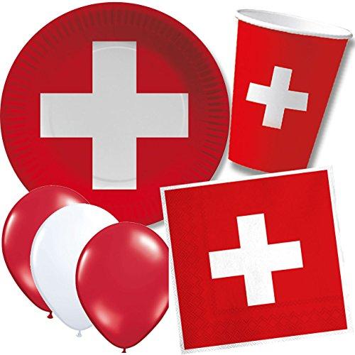 DH-Konzept/CARPETA 52-TLG. Party-Set * Schweiz * mit Pappteller + Servietten + Pappbecher + Luftballons für Kindergeburtstag // Teller Becher Servietten Party Geschirr Deko Geburtstag Mottoparty