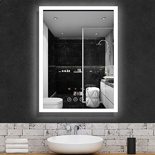 GROOFOO LED Badspiegel, 60x80cm Badezimmerspiegel mit Beleuchtung, mit Touchschalter Dimmbarer Dekorative Wandspiegel, Szenenbeleuchtungssimulationen, Zeitanzeige Antibeschlag Kosmetikspiegel