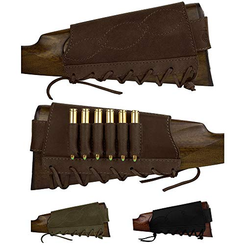 BRONZEDOG Adjustable Leather Buttstock Cartridge Ammo Holder for Rifles 12 16 Gauge or .30-30 .308 Caliber Hunting Ammo Pouch Bag Stock Right Handed Shotgun Shell Holder (Brown, 12/16 Gauge)