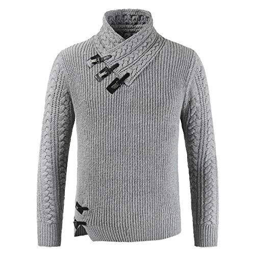 Suéter de Cuello Alto para Hombre Pullover Hebilla de Cuero Decorado Trenzado de Punto Cálido Ajuste Regular Moda Casual Jumper Tops