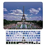 Tower Eiffel, Paris France Plastic Hard Shell Case&Screen Protector with Keyboard Cover for MacBook Air 13