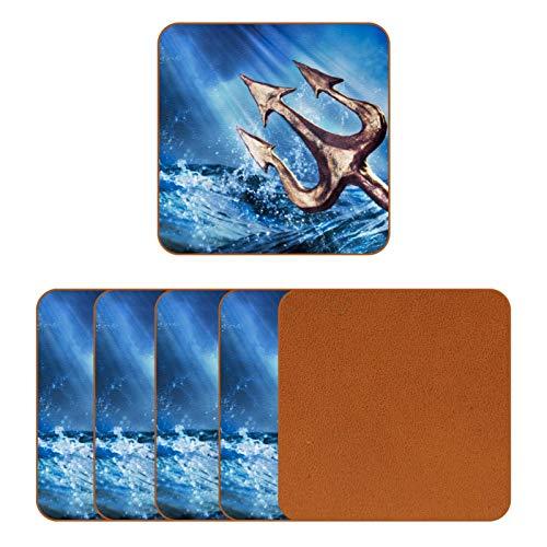 BENNIGIRY Paisaje de Olas del mar tridente de Poseidón Posavasos de Cuero Taza de café Cuadrada Taza de Vidrio Manteles Individuales Tapetes para Tazas Manteles Individuales 6 PCS