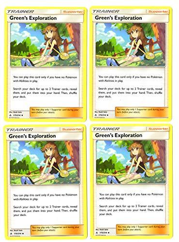Pokemon Trainer Card Play Set - Green's Exploration 175/214 - Sun Moon Unbroken Bonds - 4 Card Lot