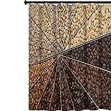 YUAZHOQI - Cortina de ducha impermeable con muchas variedades de granos tostados con esquema de color de oscurecimiento, fuerte sabor, cortina de ducha de tela de poliéster para cuarto de baño 72 x...