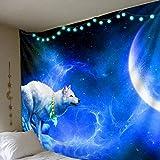Espacio Lobo Fondo Tela Fondo decoración de la Pared Tapiz de Tela hogar Tapiz Mural para habitación