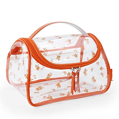 Accueil Cas cosmétique Chambre Cosmétique Multi-Fonction à Grande capacité Transparent Tissu Sac de Rangement en PVC Voyage Portable (Color : Orange)