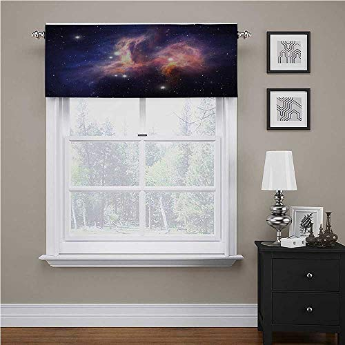 Adorise Window Curtains Galaxy, Stardust in Universe Rod Pocket Solid Window Valances for Kids Girl Baby Nursery Bedroom, 56 x 14 Inch
