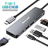 Hiearcool USB C Hub, MacBook Pro Adapter USB C Dongle, 7 in 1 USB C to HDMI Multiport Adapter Compatible for...