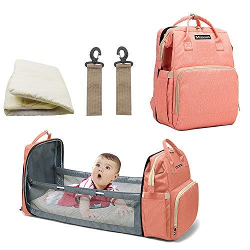 Mochila multifunción para bebé con 3 bolsillos aislantes de botella, 2 ganchos de cochecito, 1 colchón (rosa)