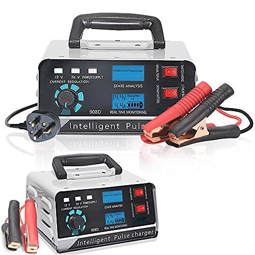 Cargador De Batería para Coche,Gel ácido de Plomo Cargador de batería AGM húmedo, Battery Charger 12V 24V/400W Cargador Rápido Inteligente Protección Múltiple,para Motos Automóviles Barco Coche