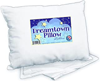 Best Dreamtown Kids Toddler Pillow with Pillowcase 14x19 White. Chiropractor Recommended. Made in USA. Ideal for Daycare, Baby Cribs, Toddler beds and car Rides. Review
