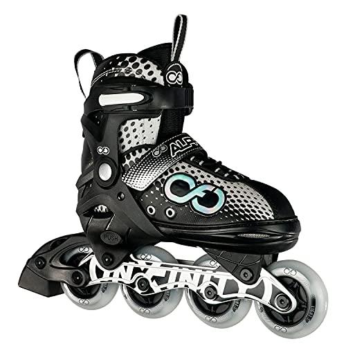 Crazy Skates Alpha verstellbare Inlineskates mit Leuchtrollen – erhältlich in zwei Farben – Schwarz/Weiß (Größe: S   US Herren j11–1   US Ladies j11–1   EU 30–33)