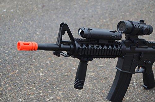 wellfire d92h m16 ris airsoft electric gun aeg w/ flashlight and foregrip(Airsoft Gun)