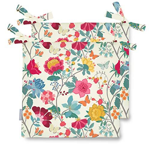 Celina Digby Juego de 2 cojines de jardín impermeables con cómodo acolchado de espuma para exteriores o invernadero, color verde. Tamaño: 42 x 42 cm, 40,6 x 40,6 cm (mañana de mediados de verano)