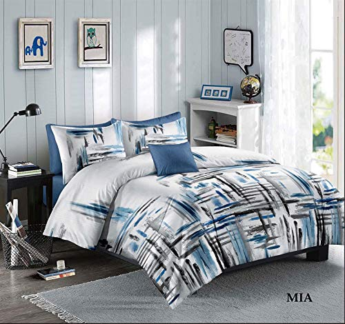 Printed Duvet Quilt Cover Set 100% Polyester Soft Luxurious Bedding - With Pillow Cases - Mia KING
