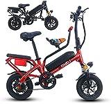Bicicletas Eléctricas, 12 '' Bicicleta plegable eléctrica, E-Bici ajustable bastidor de suspensión de peso ligero plegable completa E-Bici con pantalla LCD, 350W Motor, 25KM / H for adultos Ciclismo ,