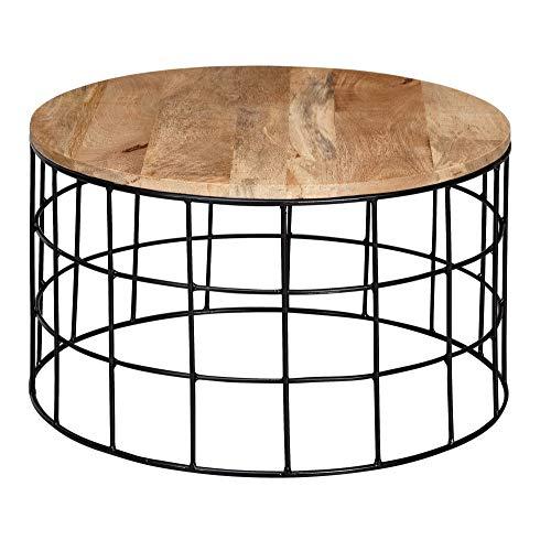 FineBuy Design Couchtisch 60x35x60 cm Mango Massivholz/Metall Sofatisch | Wohnzimmertisch Rund | Salontisch Massiv | Kleiner Tisch Wohnzimmer Industrial