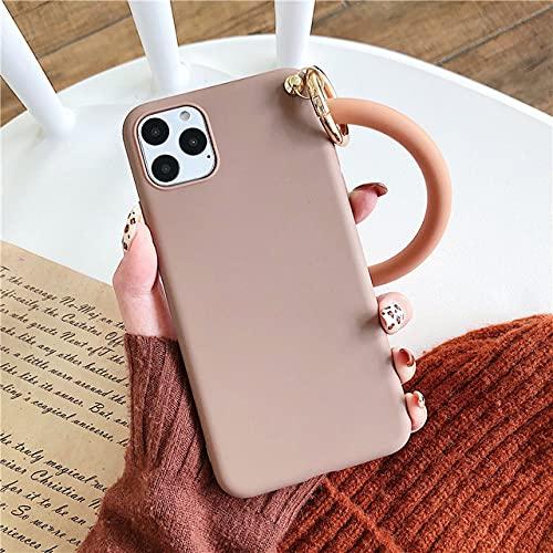 DEIOKL Caja del teléfono del Anillo de la Pulsera del Color del Caramelo para el iPhone 11 12Pro MAX 12MiniXR X XS MAX SE 6 6S 7 8 Plus Funda de Silicona Suave Mate, marrón, para el iPhone 11