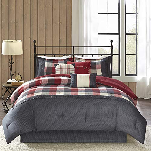 Madison Park Ridge Queen Size Bed Comforter Set Bed in A Bag - Red, Plaid – 7 Pieces Bedding Sets – Ultra Soft Microfiber Bedroom Comforters