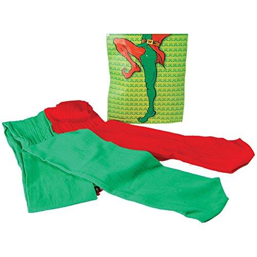 Strumpfhose Grün/Rot für Elfen o. Clowns Feinstrumpfhose Nylonstrumpfhose mehrfarbei farbig