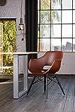 KAWOLA Essgruppe 5-Teilig mit Esstisch Baumkante nussbaumfarben Fuß Silber 140x85cm und 4X Stuhl ZAJA Kunstleder Cognac