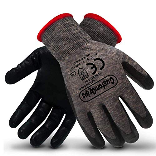 CustomGrips Cut Resistant Work Gloves. Span-Nylon Polyester Liner, Level 4 Abrasion Resistance, Nitrile Foam Palm Coated. Superior Breathability & Grip for All Day Comfort. [Small, 12 Pairs]