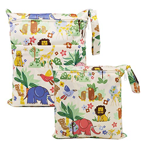 ViVidLife Bolsa de Pañales, 2 PCS Bolsa Pañales Impermeable Reutilizable Lavable Bolsa Organizador de Maquillaje, Viajes, Playa, Piscina, Gym con 2 Cremallera para Mamá Bebé