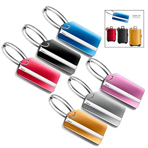 iwobi kofferhanger koffer, aluminium bagagelhanger 6 stuks kofferhanger met adreslabel roestvrij stalen kabel waterdichte PVC-kaart met naamplaatje adres dag vliegtuig bagagehanger van metaal