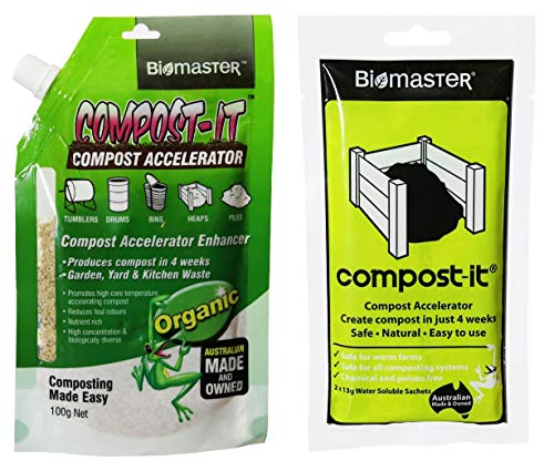 Best Review Of Compost-It Compost Starter/Accelerator Bundle – 2 Items, Spout Pack (100g) with Sol...