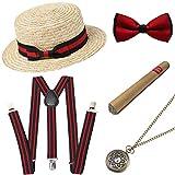 ArtiDeco 1920s Herren Accessoires Mafia Gatsby Kostüm Set inklusive Panama Gangster Hut Verstellbar Elastisch Hosenträger Herren Halsschleife Fliege Taschenuhr und Plastik Zigarre (Set-7)