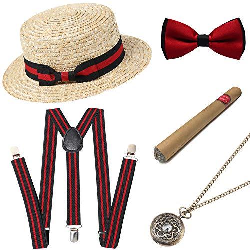 ArtiDeco 20-delige set voor heren met panama gangsterhoed, verstelbare elastische bandjes, horloge, halsketting, strik, papillon, tassen en sigaren van kunststof -  - Taglia Unica