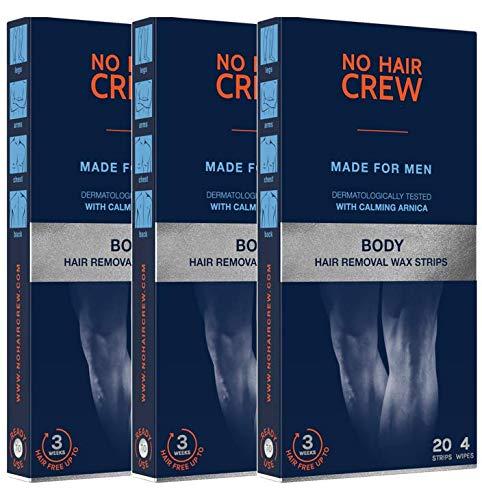 3 x NO HAIR CREW Bandas de Cera Depilatorias Masculinas Premium – Hechas Para Hombres, 20 Tiras Y 4 Toallitas Calmantes (paquete de 3 x 20)