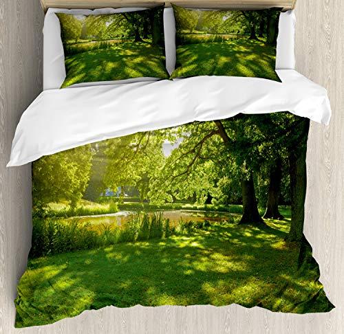ABAKUHAUS Groen Dekbedovertrekset, Summer Park Hamburg, Decoratieve 3-delige Bedset met 2 Sierslopen, 230 cm x 220 cm, Groen