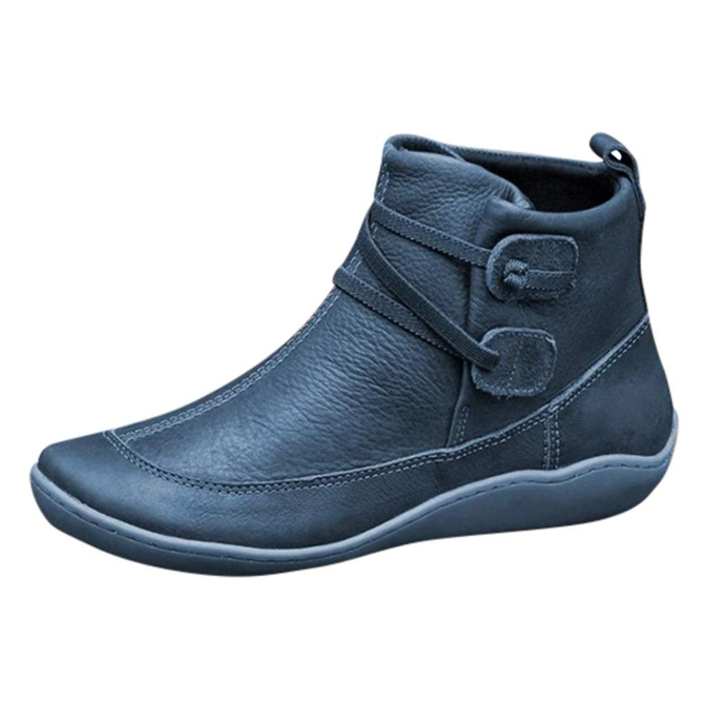Womens Ankle Boots 2019 New Ladies Casual Arch Support Boots Waterproof Boots Flat Slip On Boots Comfy Booties Vintage High Top Side Zipper Shoes Outdoor Anti-Slip Walking Boots