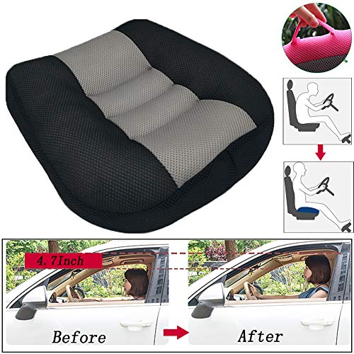 WAQIA Car Booster Seat Cushion Heightening Height Boost Mat ,Driver Booster Seat Car seat Cushion Breathable Mesh Portable Car Seat Pad Lift Seat for Car, Office,Home(15.7x15.7x4.7inch) (Black)