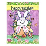 Wamika Happy Easter Eggs Bunny Tail Spring Birds Butterfly Double Sided House Flag Garden Banner 28' x 40', Cute Rabbit Easter Eggs Basket Garden Flags for Anniversary Yard Outdoor Decoration