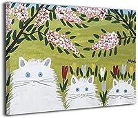モードルイス 花の猫 ポスター 油絵 アートパネル 壁飾り 絵画 壁掛け ポスター 写真 インテリア フレーム アートフレーム キャンバス絵画 壁アート モダン フレームレス 40x50cm